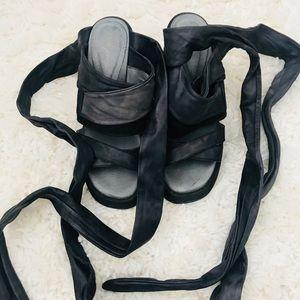 Free People Tie Leath Block Heels Size 36